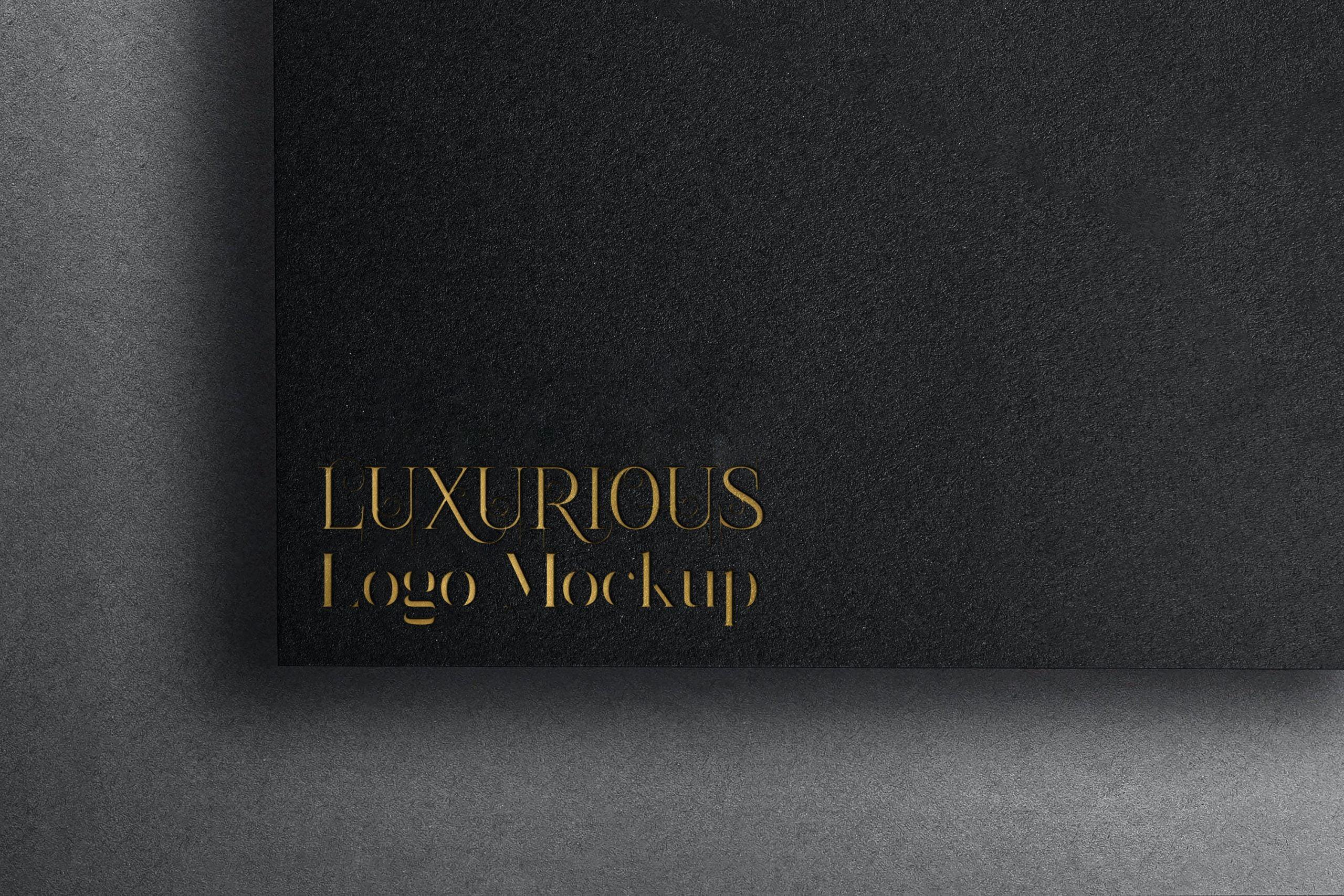 Luxurious Gold Embossed Logo Mockup Download