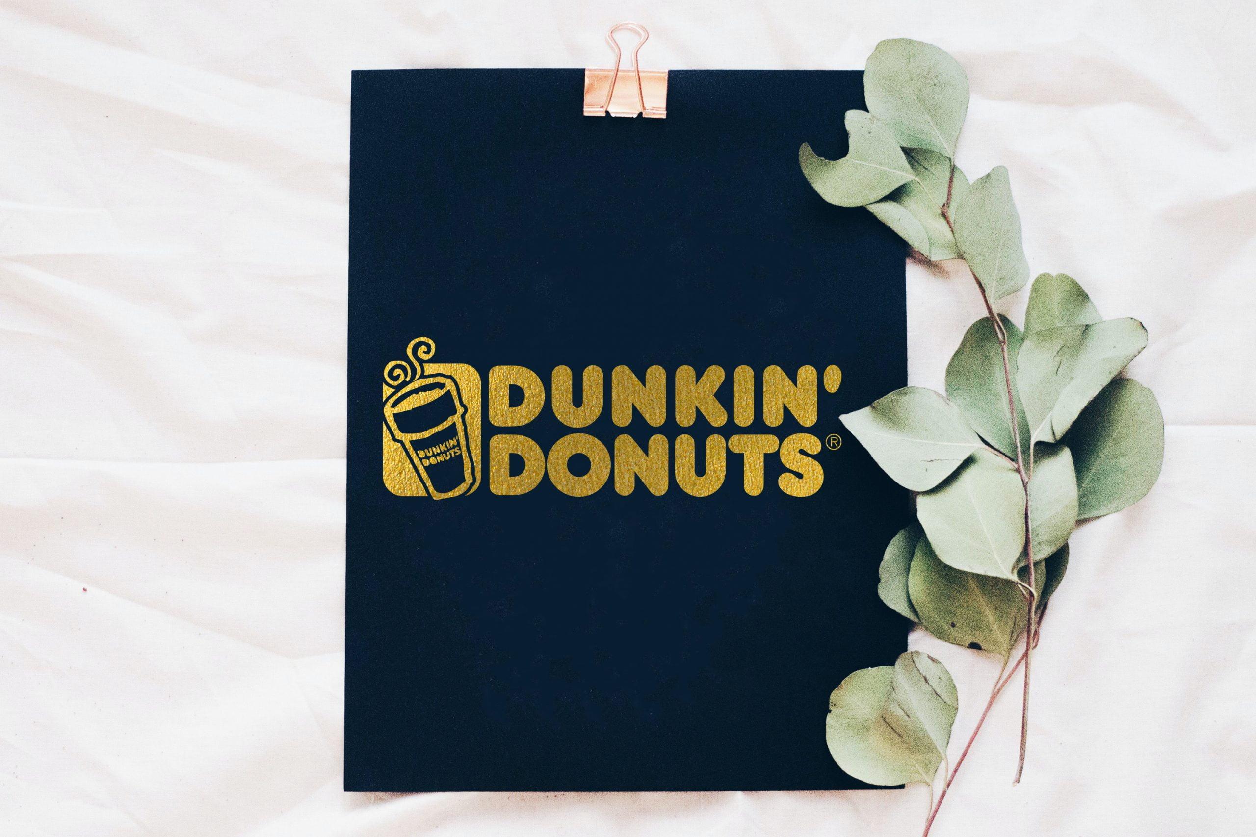 Minimal Golden Foil Logo Mockup with Leaves Download