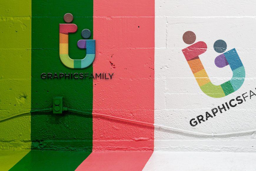 Painted Wall Concrete Logo Mockup