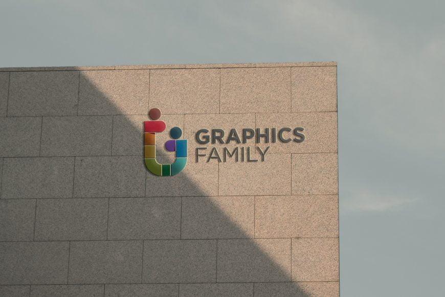 Sunset Wall 3D Logo Mockup