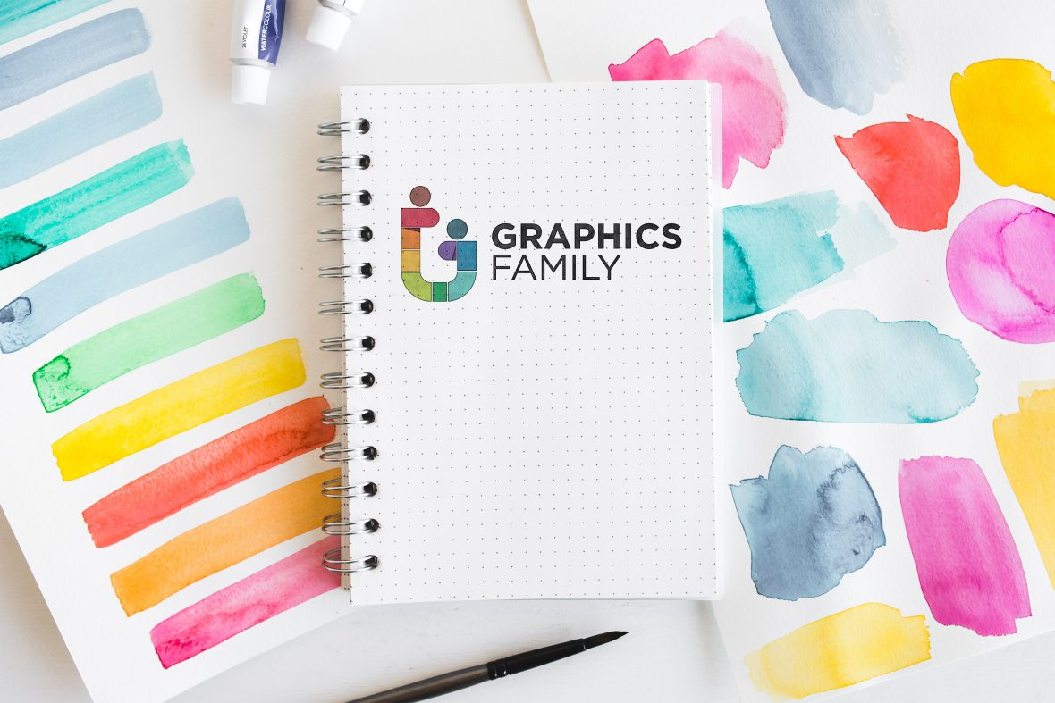 Watercolor Notebook Logo Mockup